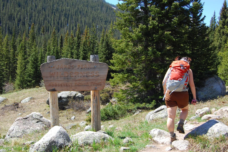 James Peak Wilderness Sign Hiking