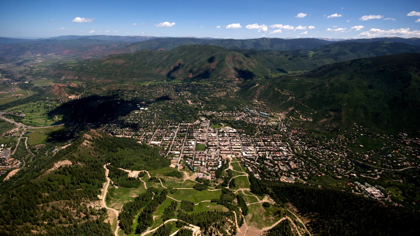 Paragliding Downtown Aspen Colorado Aerial View