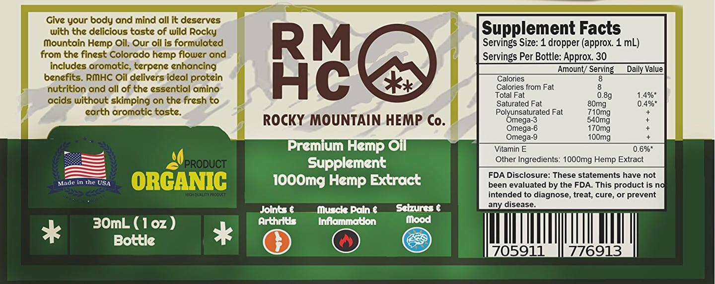 Rocky Mountain Hemp Oil Label