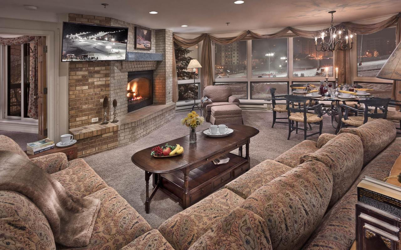 Chateau Chamonix Slopeside Living Room Steamboat Springs