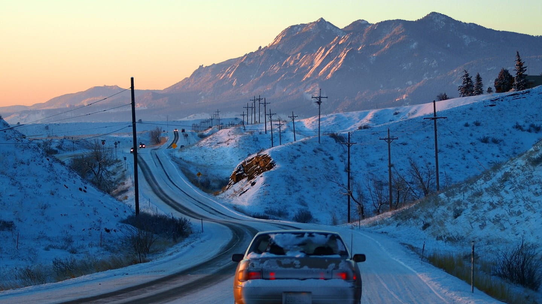 Winter Driving Highway 36 Boulder Colorado Sunrise