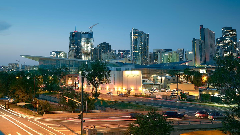 Downtown Denver Skyline Sunset Colorado Convention Center