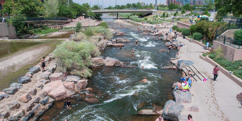 Denver Confluence Park Hot Summer Day