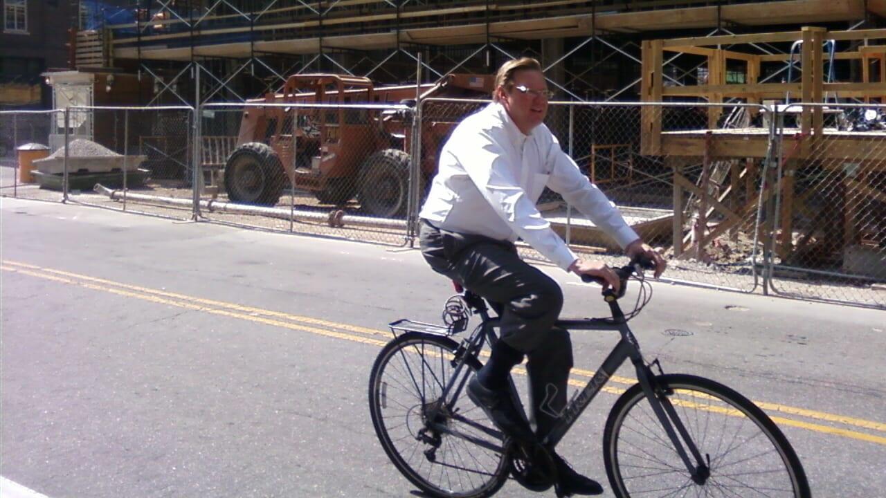 Bicycle Commuter Downtown Denver Colorado