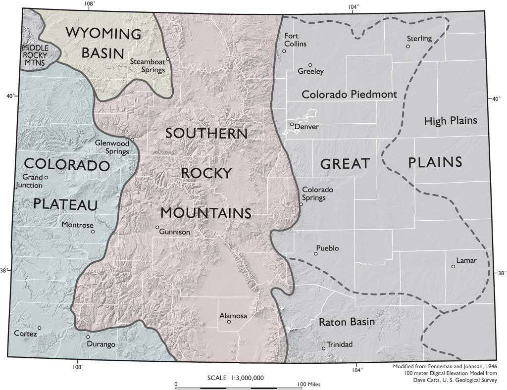Colorado Map Physiographic Provinces