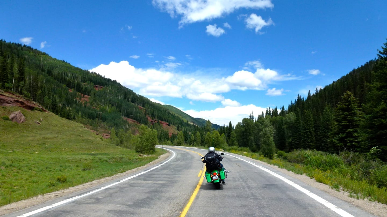 Motorcycle Driving Colorado Mountain Highway