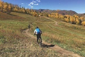 Snowmass Bike Park Single Track Autumn Aspens