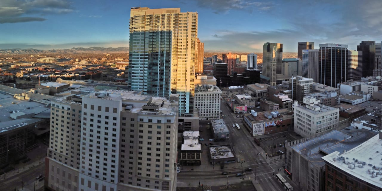 Downtown Denver Colorado Aerial Panorama