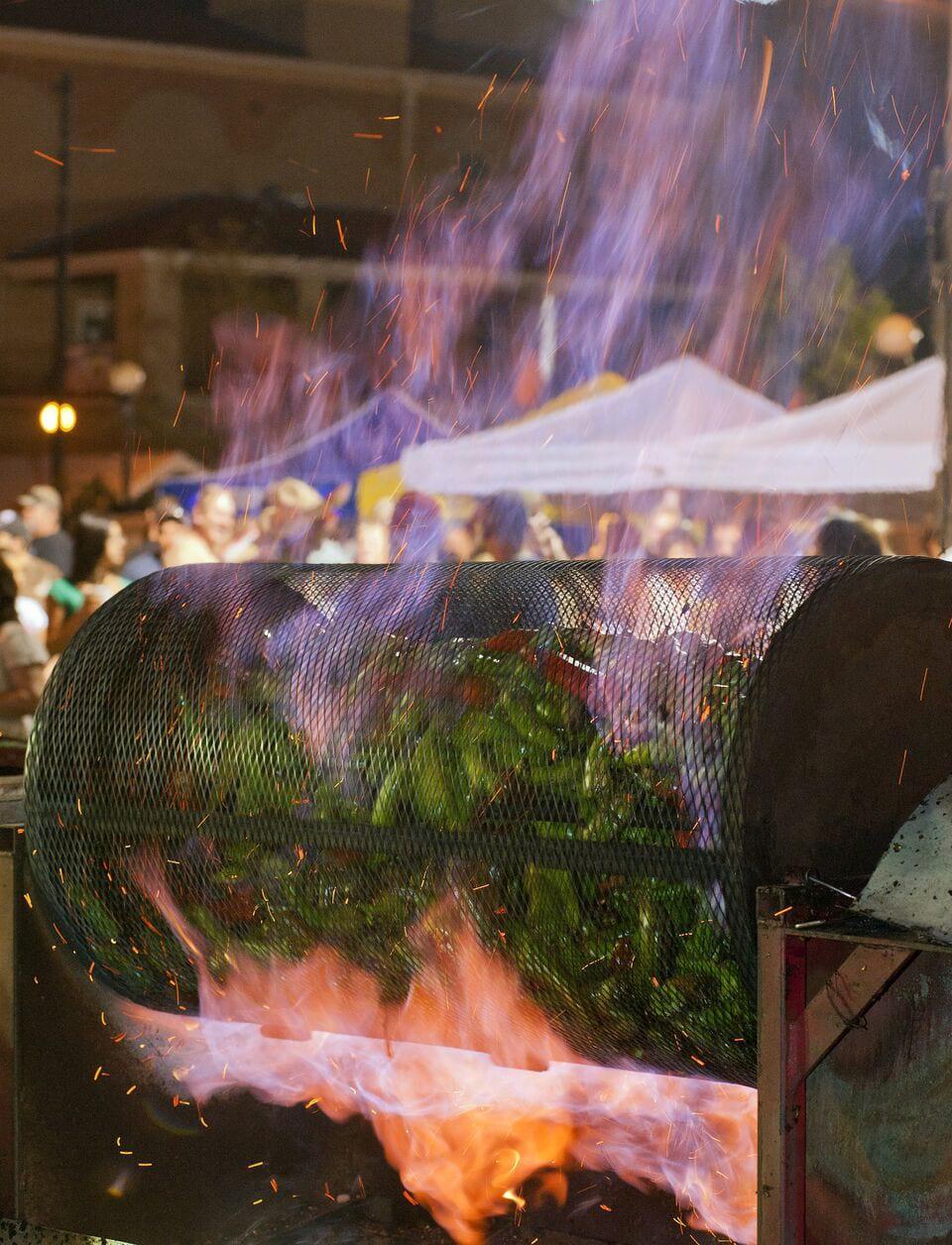 Chile Frijoles Festival Pueblo Fire Roasting Chiles