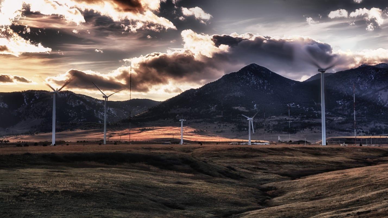 Windmills Boulder Colorado Sunset National Renewable Energy Laboratory Field Test Site