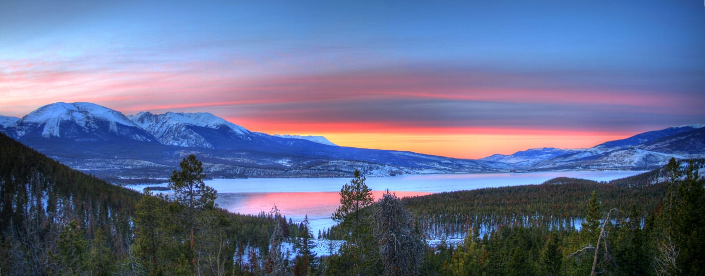 Honeymoon Colorado Lake Dillon Sunset Panorama