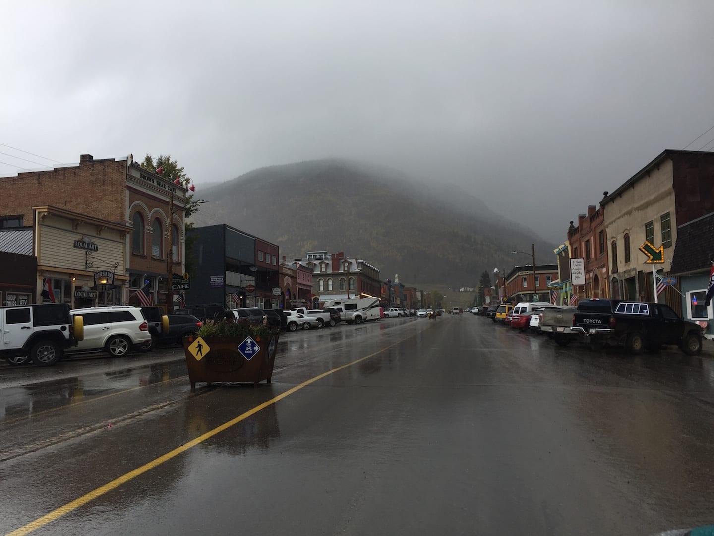 Downtown Silverton Colorado Foggy Fall Morning