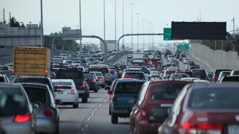 Colorado Traffic Highway I-25 Stapleton Denver