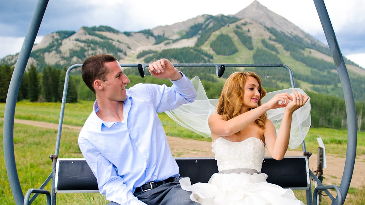 Married Colorado Wedding Crested Butte Chairlift Photography