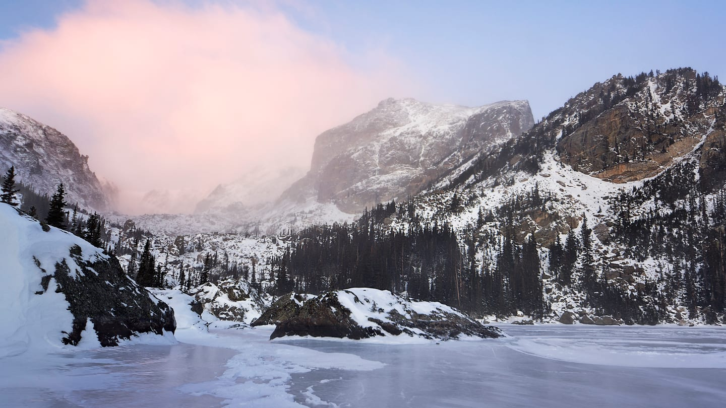Lake Haiyah Winter Sunrise Colorado RMNP