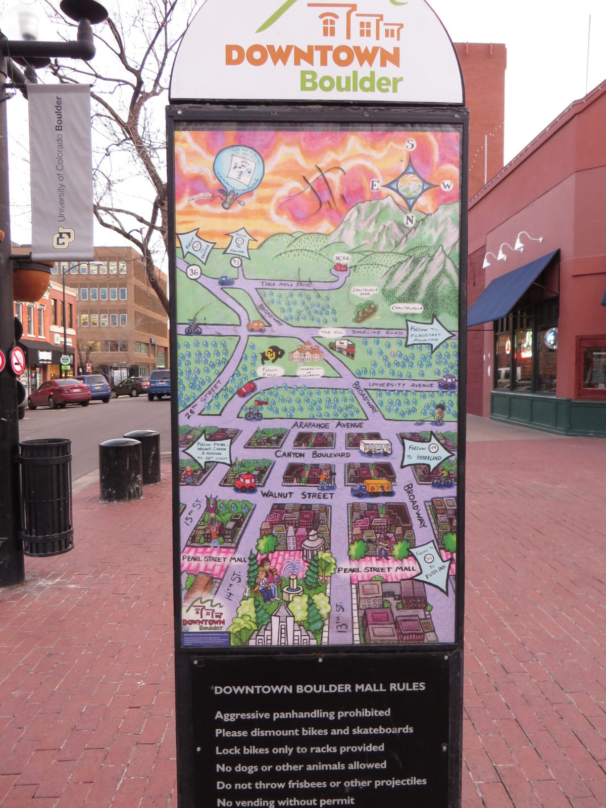 Pearl Street Mall Map Boulder CO