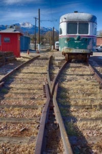 Streetcar Railroad Tracks Colorado Springs Pikes Peak
