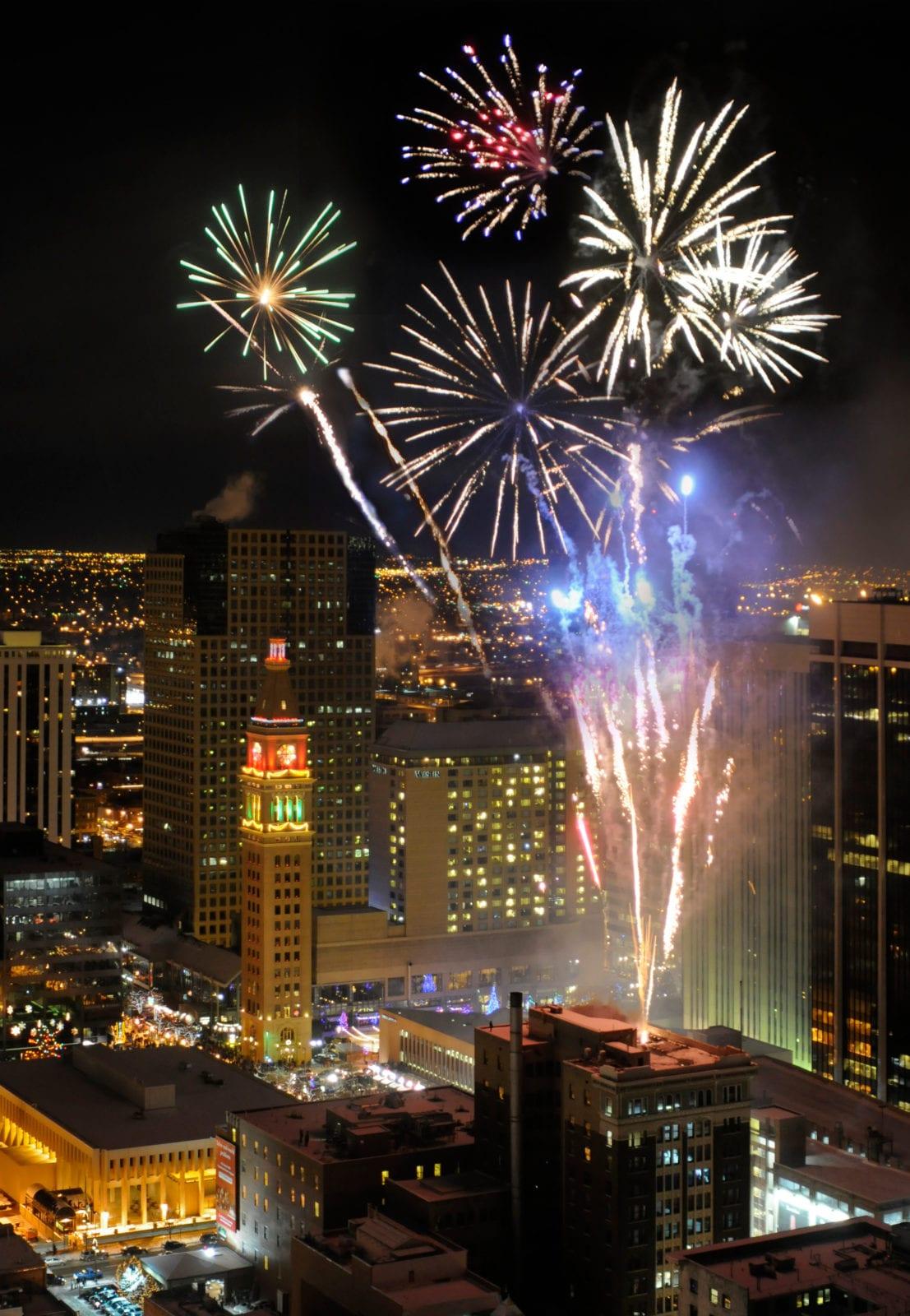 New Year's Eve Firework Downtown Denver Hyatt Regency Denver