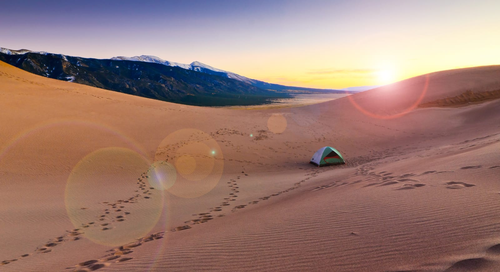 Backcountry Camping Hiking Colorado Sunset Dune Campsite