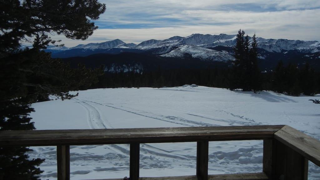 Colorado Ski Hut Deck Mountain View