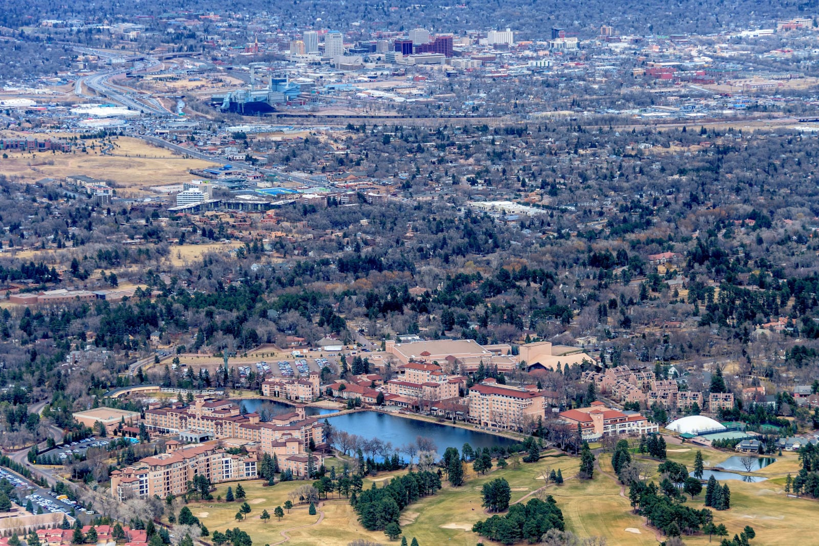 Colorado Springs Neighborhoods Aerial View from Shrine of the Sun