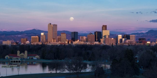 Denver CO Travel Destination City Skyline Blue Moon