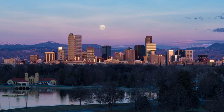 Denver CO Travel Destination City Skyline Blue Moon