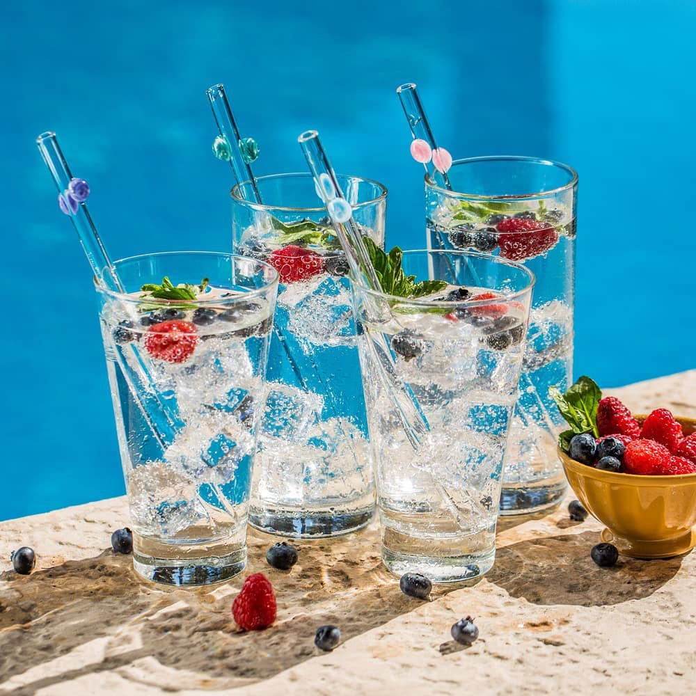 Hummingbird Glass Straws Fruit Cocktails