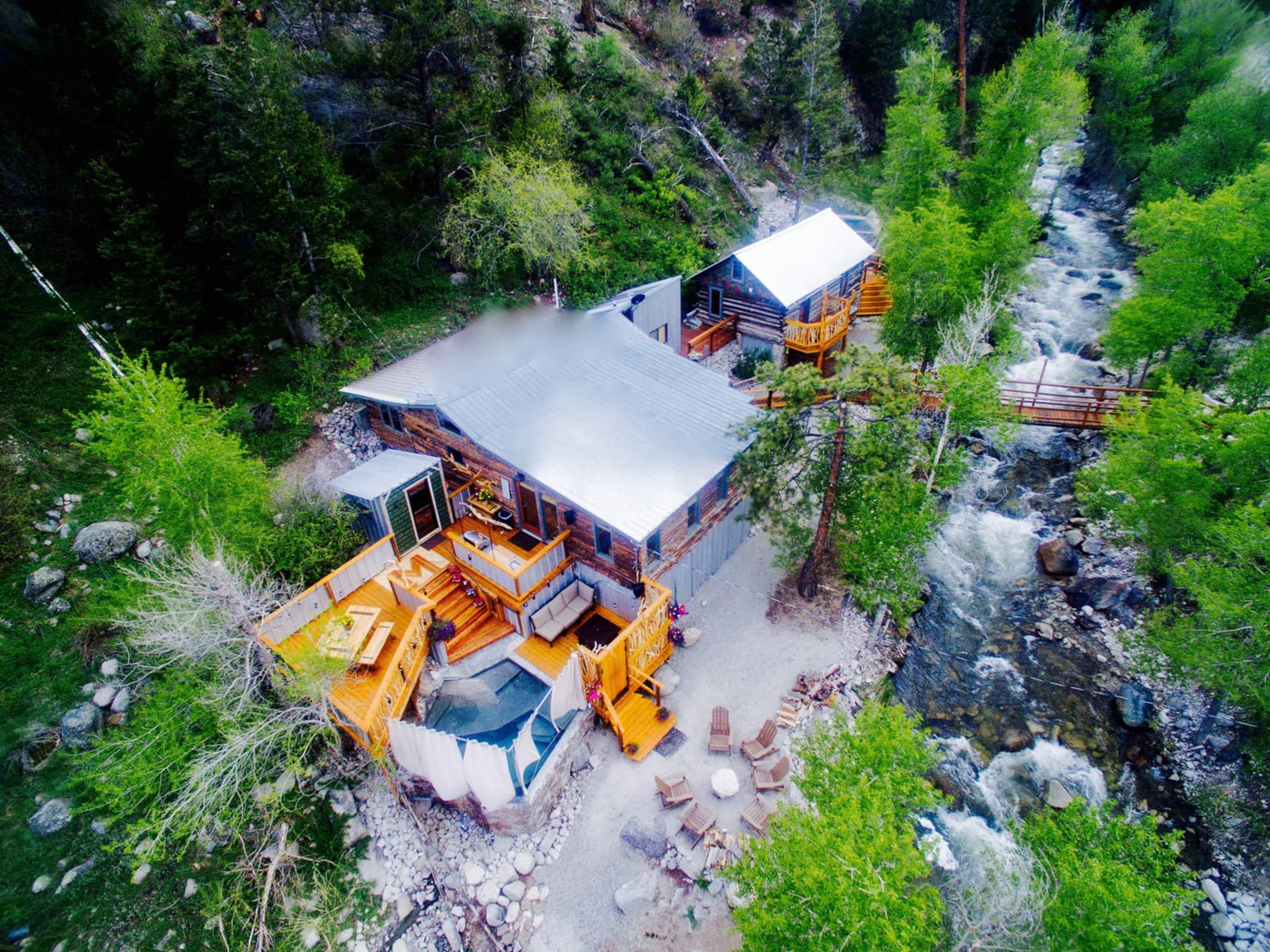 Merrifield Homestead Cabins and Hot Springs Buena Vista CO Aerial