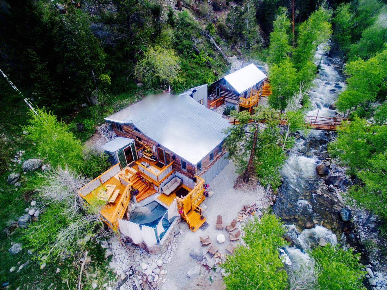 Merrifield Homestead Cabins and Hot Springs Buena Vista CO Aerial