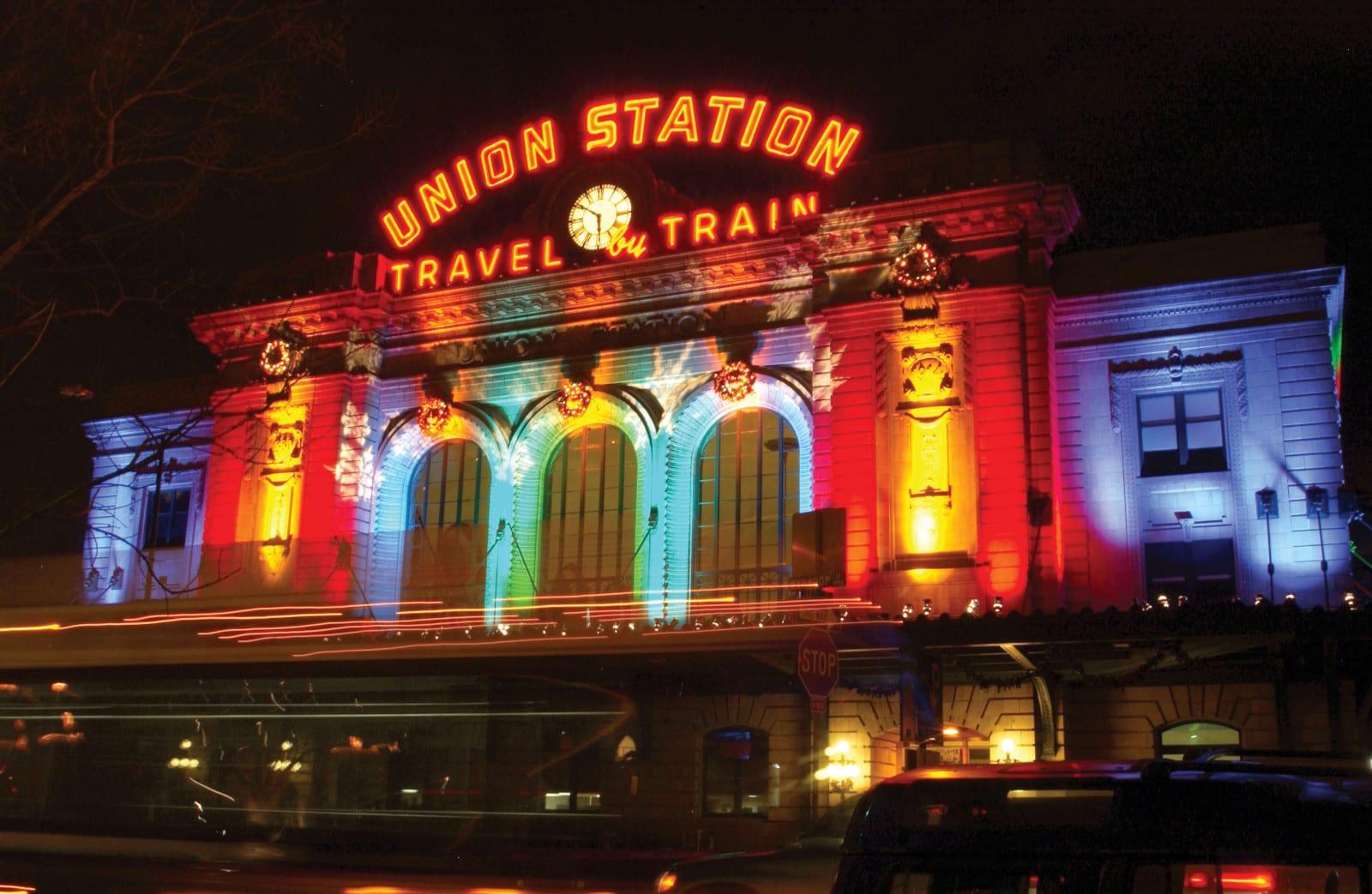 Denver Union Station Night Lights