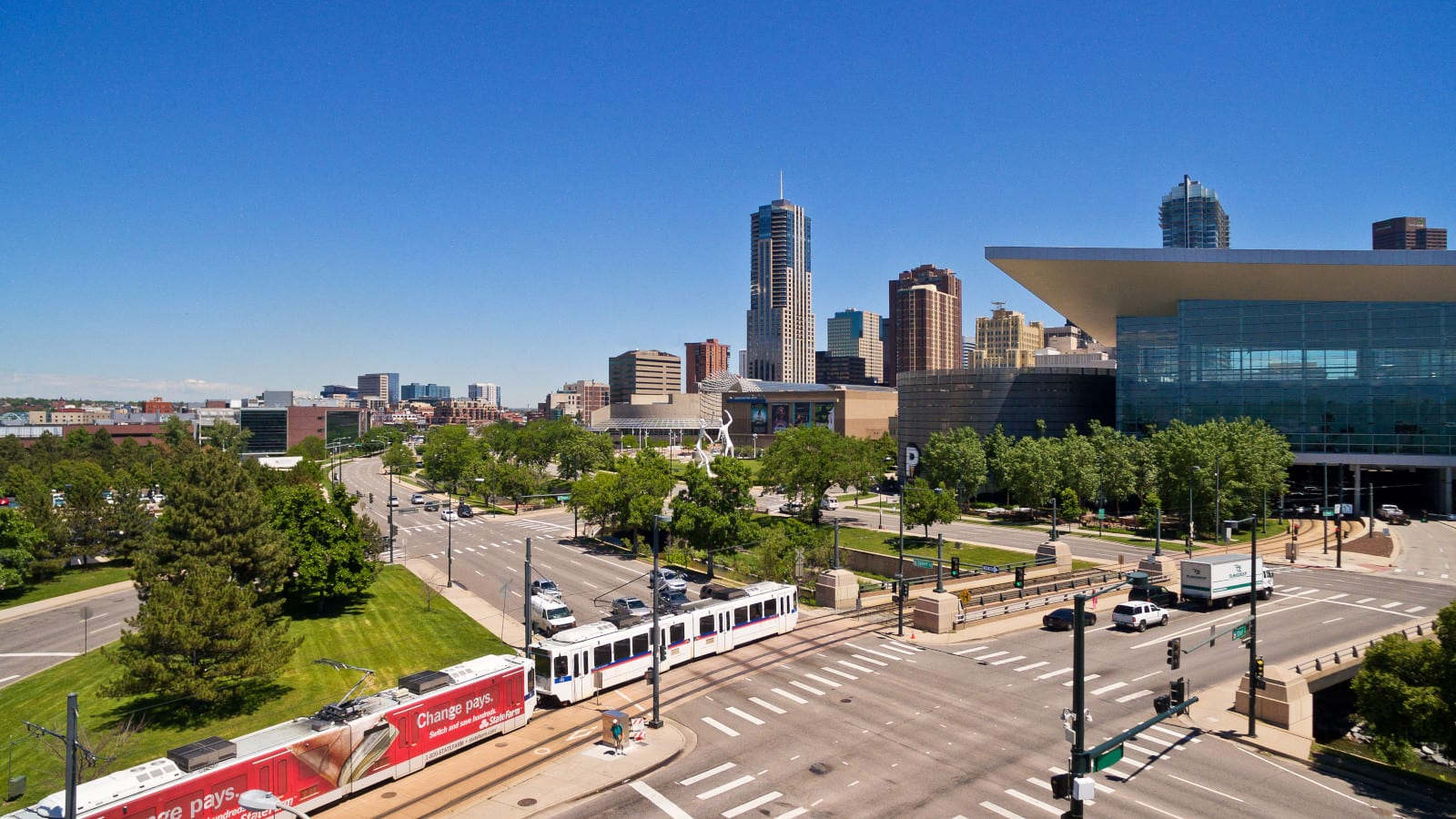 RTD Train Downtown Denver Colorado Aerial View