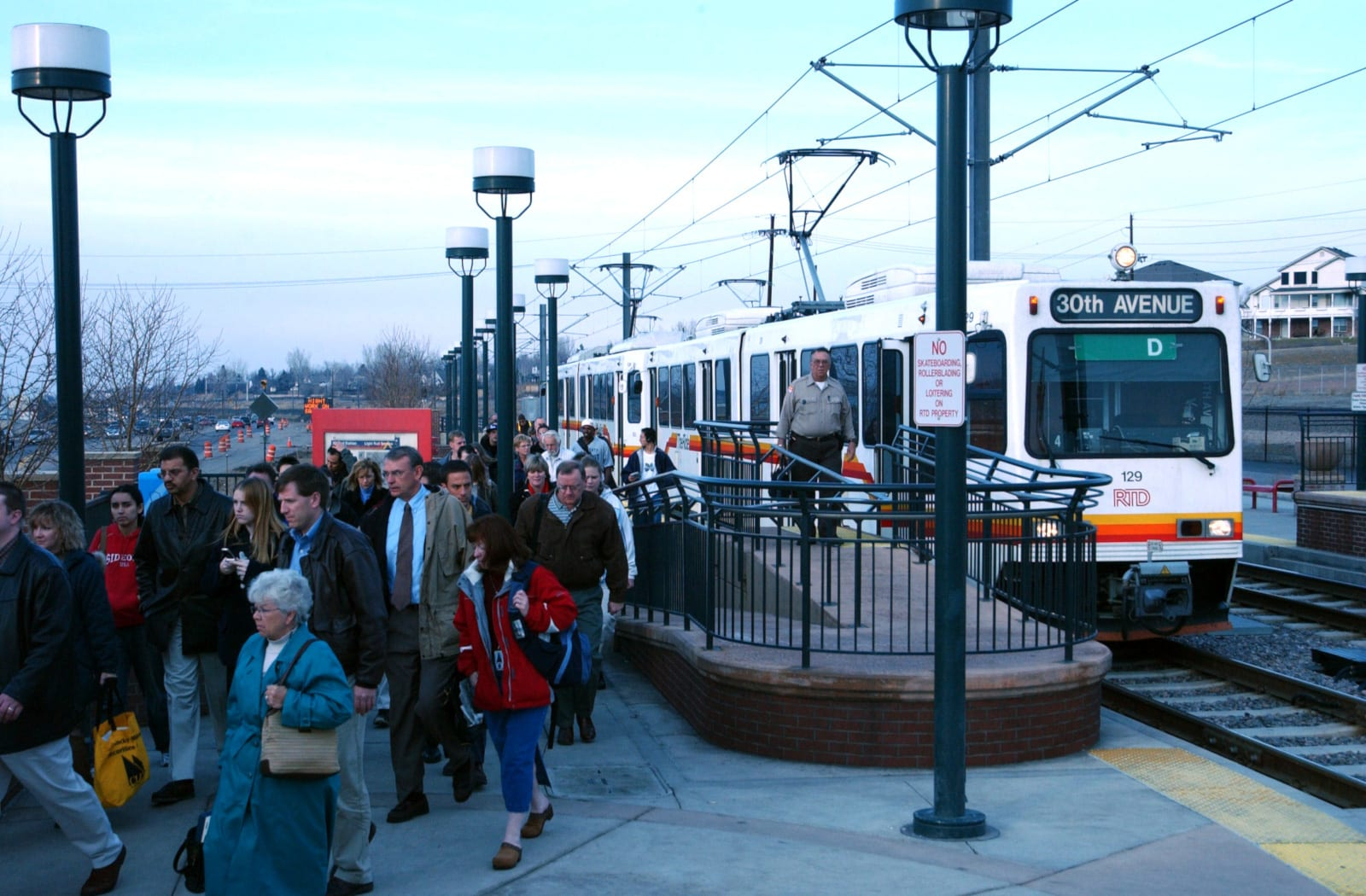 RTD Train Mineral Station Crowd Littleton CO