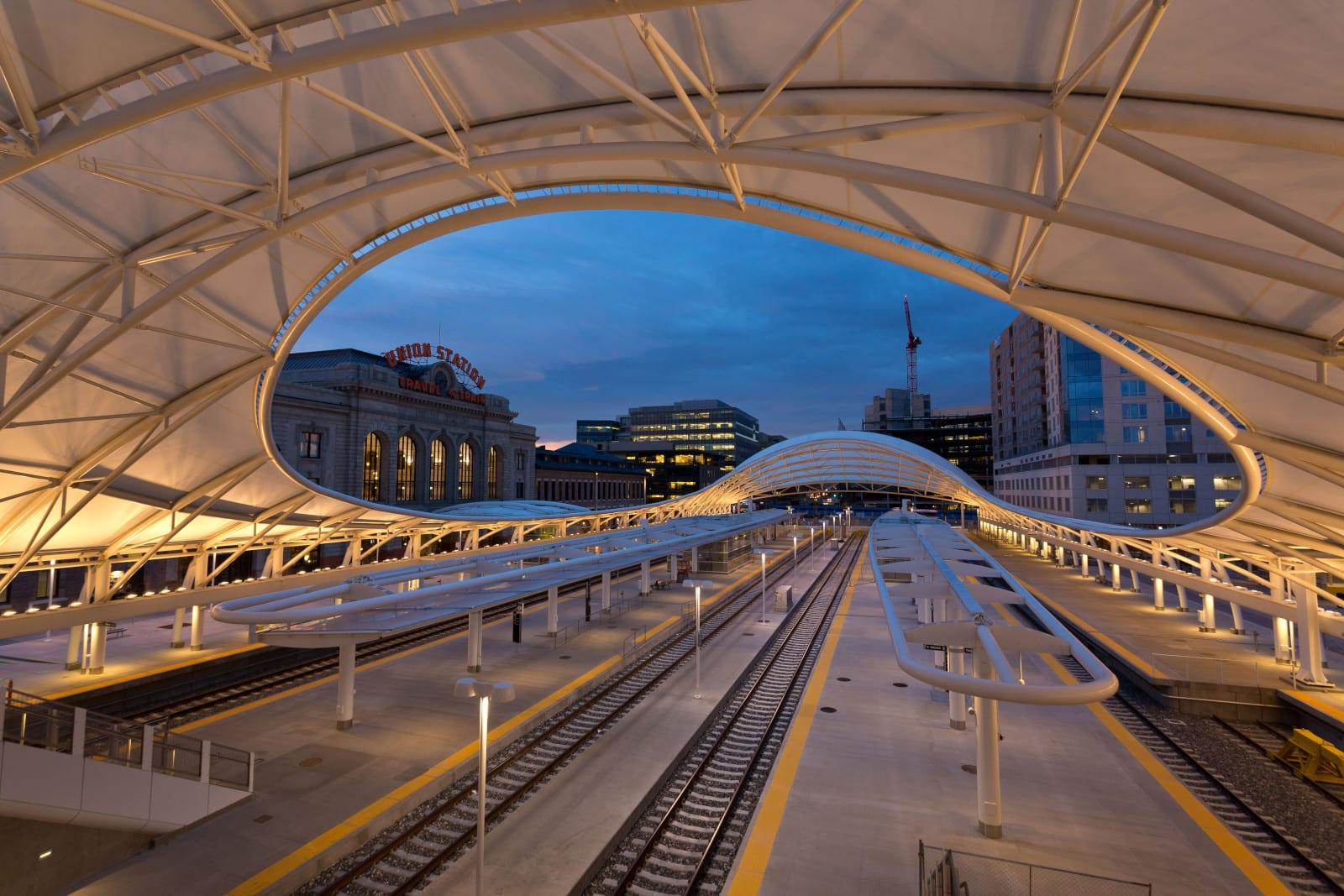Denver Union Station Railroad Train Tracks Night