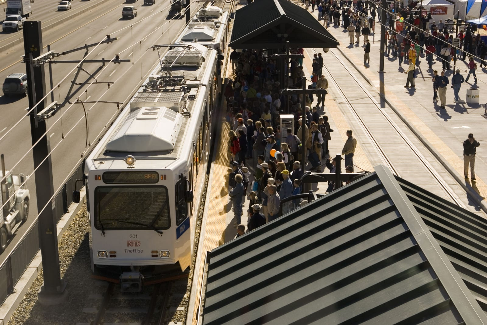 RTD Train Lincoln Station Crowd Lone Tree CO