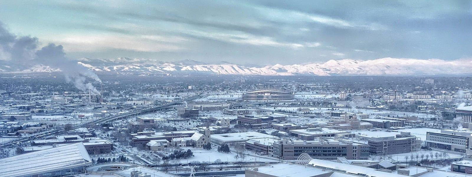 Denver Travel Destination Snow Covered Rocky Mountains Hyatt Regency Lounge View