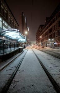 Winter Blues Denver Colorado California Street Night Snow