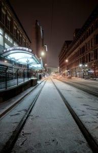 Winter Blues Denver Colorado California Street Night Snow