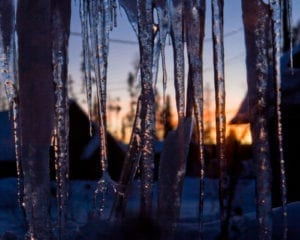 Winter Blues Grand Lake Colorado Icicles Sunset