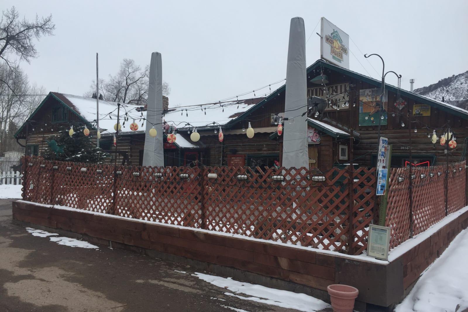 Woody's Creek Tavern Colorado Winter Exterior