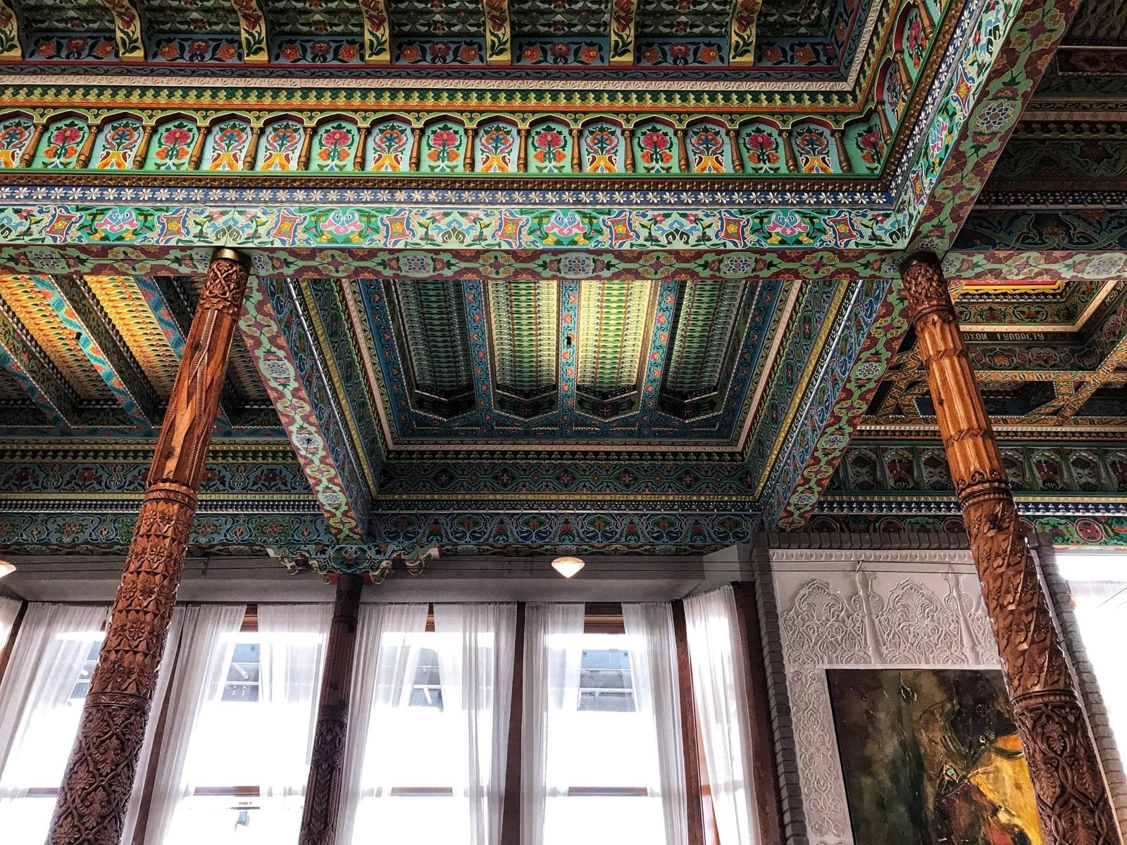 image of ceiling at Boulder Dushanbe teahouse