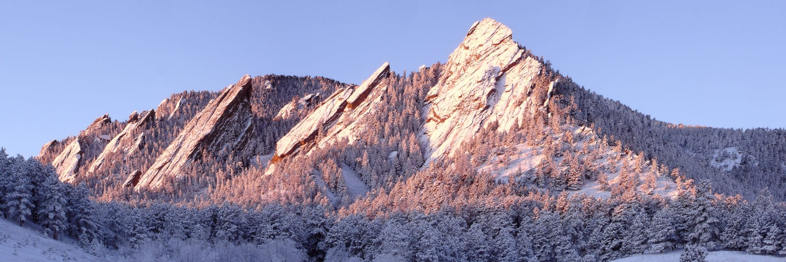 Boulder County Snowshoeing Winter Flatirons Sunrise