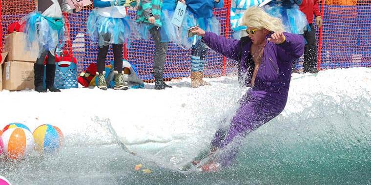 Steamboat Pond Skim Closing Day Celebration Skier