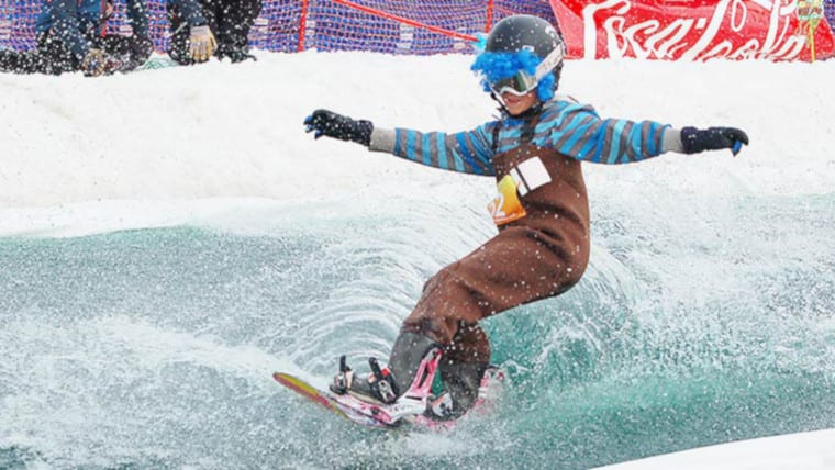 Steamboat Pond Skim Ski Resort Snowboarder