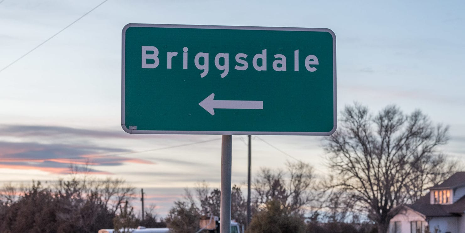 image of town of Briggsdale sign