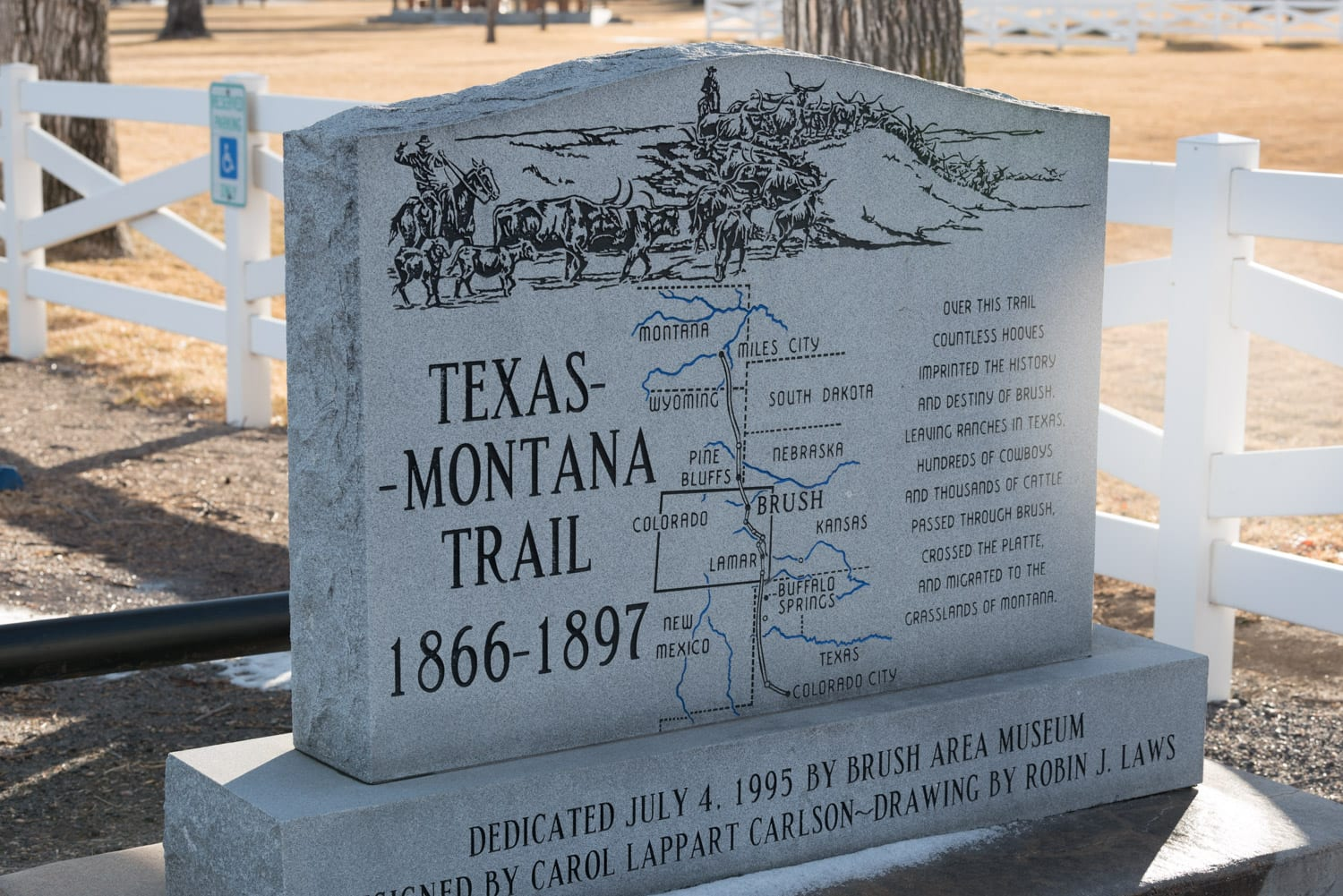 image of Texas Montana trails sign in Brush, CO