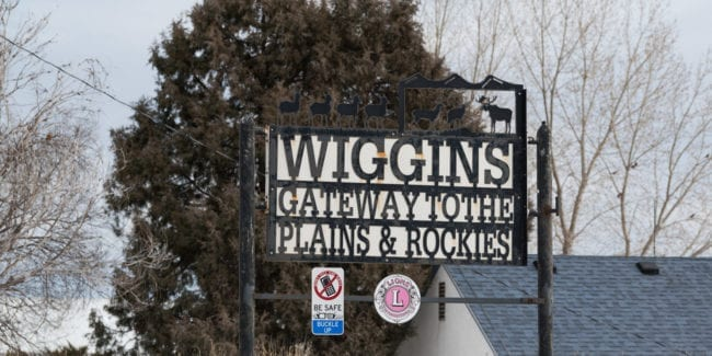 image of entrance to town of Wiggins, CO
