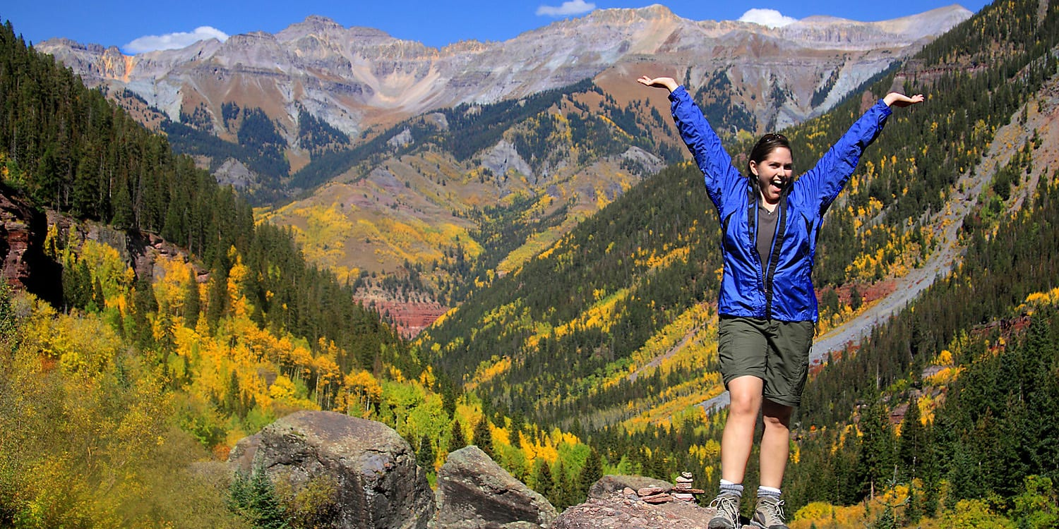 Hiking Telluride CO Bear Creek Falls Trail Autumn Overlook