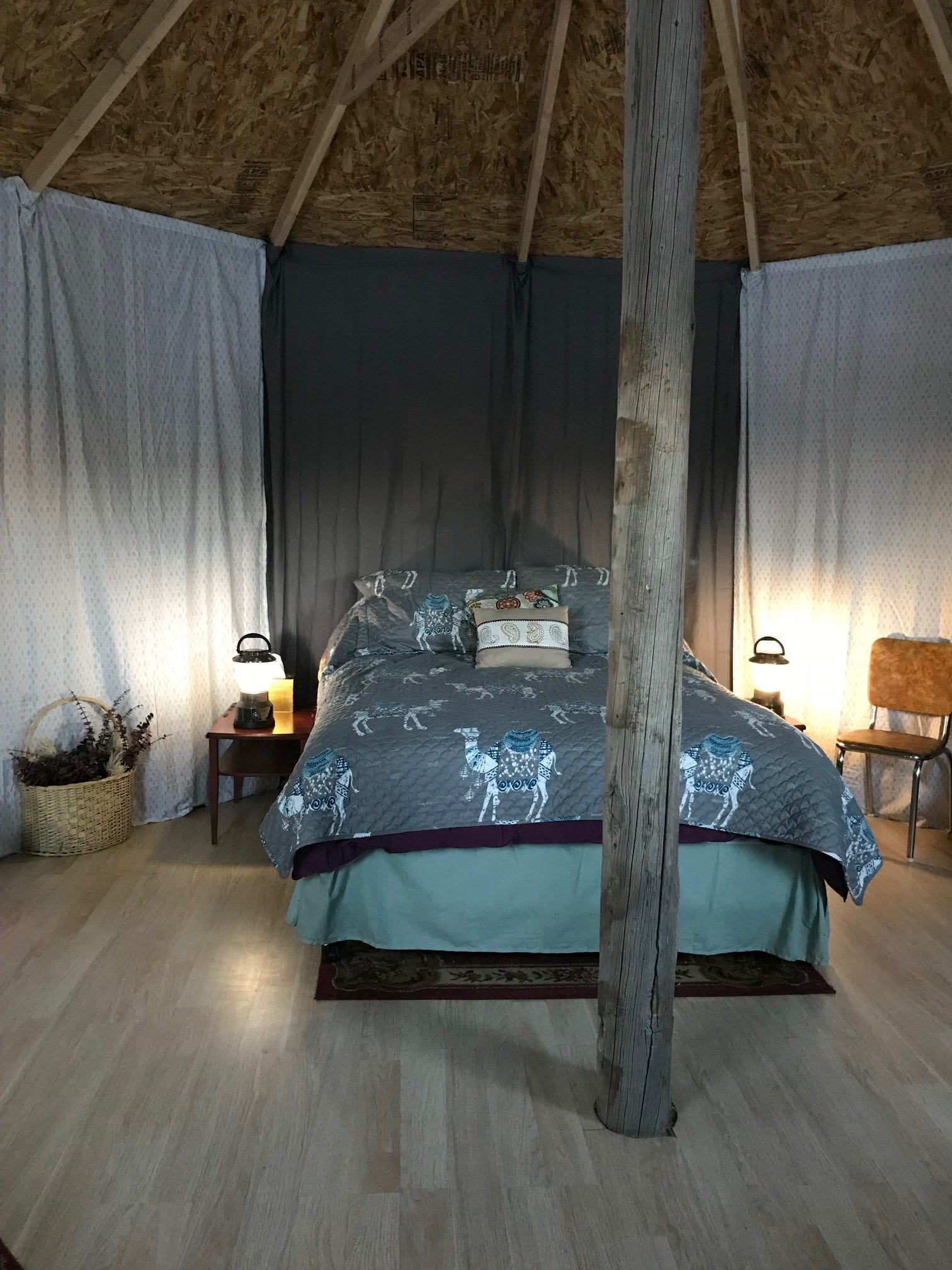 image of inside of yurt