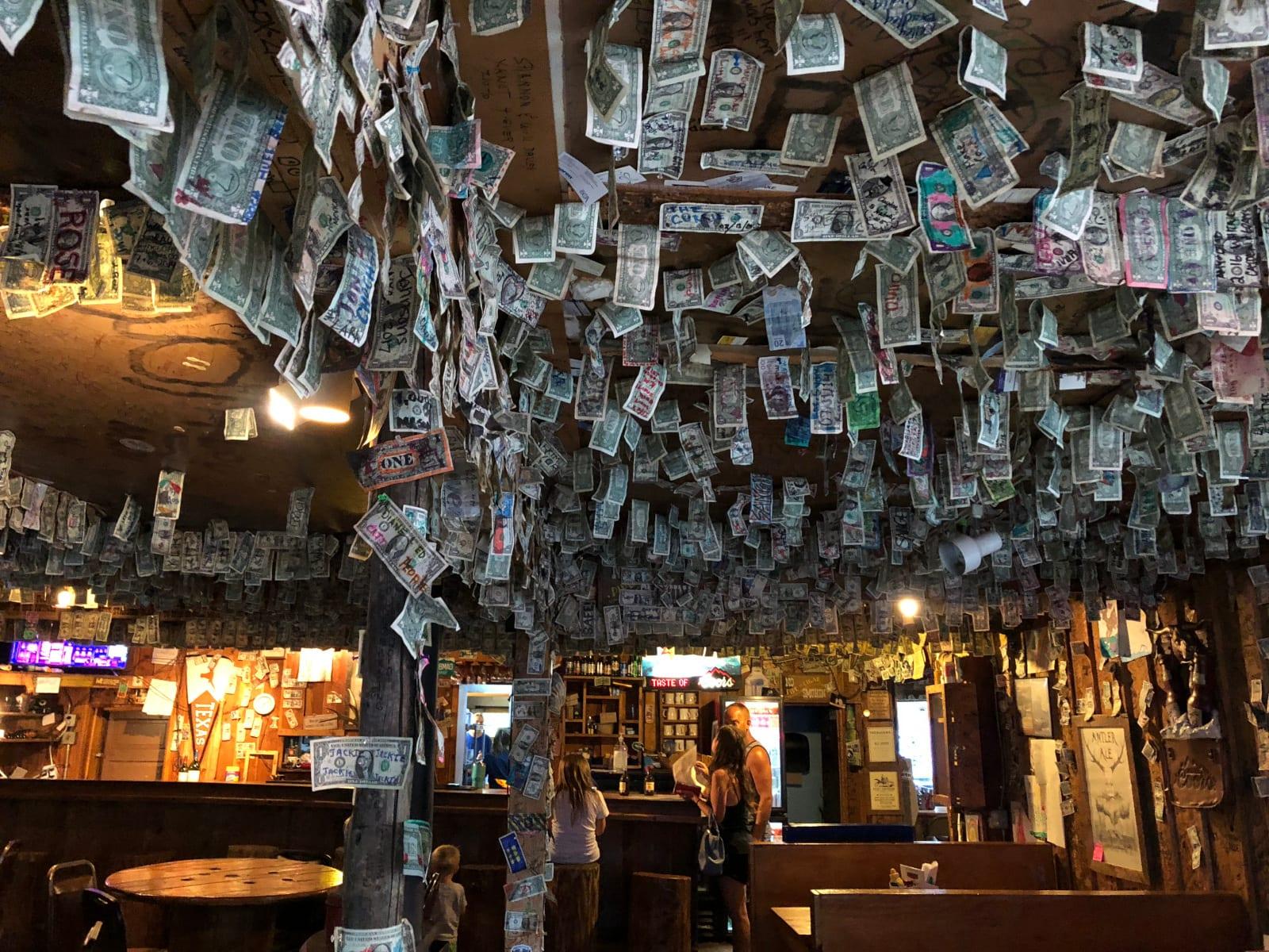 Pine CO Bucksnort Saloon Ceiling Dollar Bills
